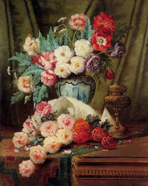 Carlier Max Still Life Of Roses And Other Flowers On A Draped Table
